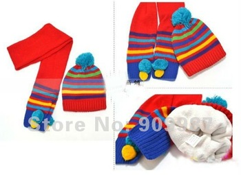 fashion girls and boys hat +scarf low price baby hat/cap winter crochet and knitted for new born and toddler protect ear A019