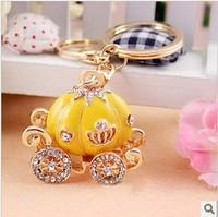 Full Rhinestone,Crystal Pumpkin Carriage Keychain Alloy Keyring handBag Charm Real Gold Plated ,Nickel free,HSKC036