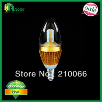 led candle lights 5W Samsung Chip dimmable bulb E14 optional lamp base CE ROHS 10pcs/lot Free Shipping-2years warranty 320LM