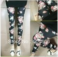 FREE SHIPPING ladies&#39; leggings spring&amp;summer Colorful rose flower leggings(can choose colors) 10pcs/lot