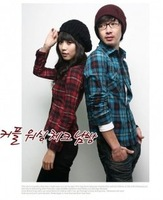 Free Shipping  Long Sleeve Plaid Couple Cotton Shirt Blue (Male)   new  arrival