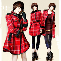 Fashion Plaid Cloak Trench Woolen Coat Medium-long Double-breasted Woolen Overcoat
