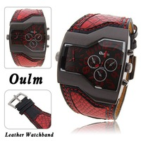 Newest Hot!Super Cool Oulm Double Time Show,Snake Band,Metal Dial Military Men Sports Watch,1120, Muticolors