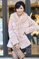 Free Shipping 2013 Autumn Winter Lady Fashion Real Rex Rabbit Fur Coat with Fox Fur collar Outwear Garment