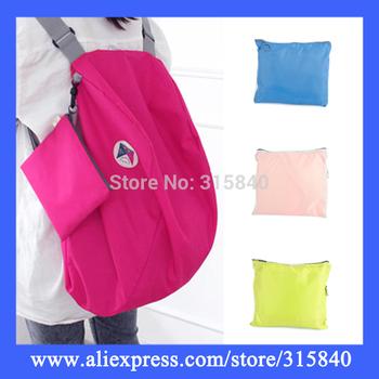 1pc New 2014 Women Backpack Solid Foldable Storage Bag Girl Travel Shoulder Bags -- BIB31