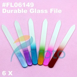 Freeshipping-6 x NEW Durable Crystal Glass Nail File Buffer Nail Art Files Retail SKU:G0111X(China (Mainland))