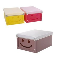 Simple Fashion Cute Smile Face Hollow  PP Plastic Women's Underwear Socks Sundries Storage Box