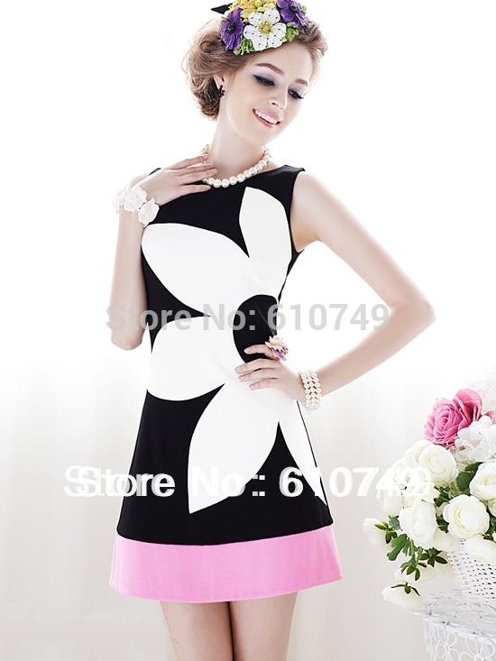 Free shipping 2014 summer clothing new black and white rose pink mosaic Slim flowers sleeveless A-type dress women dress reta