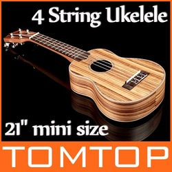 21&quot; mini size Homeland Laminated Zebrawood Soprano 4 String Ukelele Acoustic Instrument I138 Free Shipping Drop Shipping(China (Mainland))