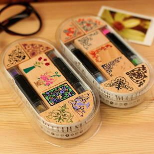 Free shipping! 2design (7pc stamp+ 2pc ink pad pen)/Classical flower wooden stamp set /gift box / Multi-purpose/ Wholesale A1099