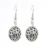 Wholesale 1 Dozen 12 PCS Tribal Retro Tibet Silver Womens Jewelry Cut Out Ball Drop Dangle Earrings Hot Gift For Girls Womens