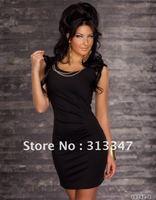 M XL XXL plus size Red Black New Arrival Fashion Sexy Club Party Dress Exotic Clubwear Cute women Pom Dress free shipping N82