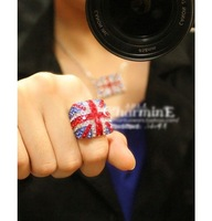 [Mix 15USD] European Fashion Amazing Crystal British UK Flag Cocktail Ring Fashion Jewelry