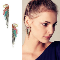 [Mix 15USD] 2013 New hot Gorgeous Colorful Shiny Crystal Parrot Animal Earrings Punk statement jewelry