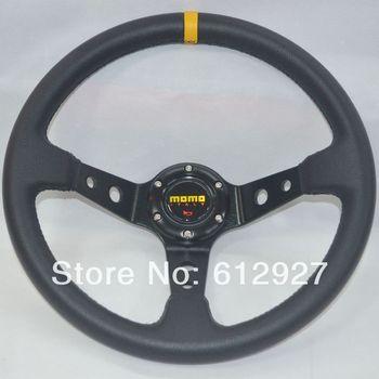 "14"" MOMO Steering Wheel PVC Leather Sport Steering Wheel Tuning Steering Wheel MOMO PVC Steering Wheel Black Stitch"
