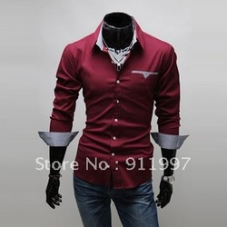 Free Shipping 2012 Brand New Item Design Fashion Mens Shirts Casual Slim Fit Stylish Dress Shirts 3 colors Size:M~3XL(China (Mainland))