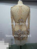 Free shipping  Hot sale Jewel  Sheath Celebrity Dresses Knee length   Fold  Swarovski crystals  Rhinestone Beaded