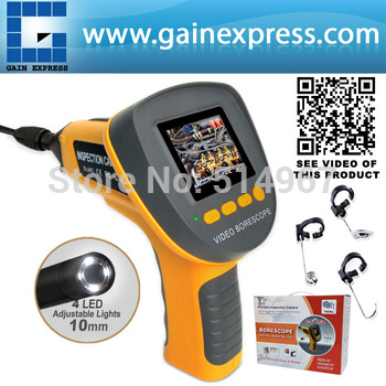 "Handheld 2.4"" TFT Video Inspection Endoscope Snake Scope Pipe Camera 360 Image Rotation 10mm diameter + 1M Cable"
