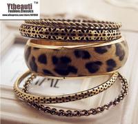 [Mix 15USD] Fashion Trend assembly mix match Vintage Leopard print multi-layer Bangles bracelets set jewelry
