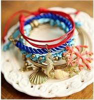 [Mix 15USD] Fashion 5 Multi Strand Nautical Sea Shell Seahorse Starfish Charm Bracelet jewelry
