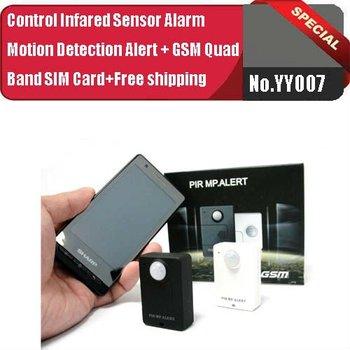 No.YY007  Wireless PIR Sensor Motion Detector GSM Alarm System Alert Monitor Remote Control+GSM Quad Band SIM Card+Free shipping