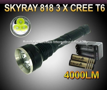 SKY RAY 818 3 * CREE XM-L XML T6 4000 Lumens 5-mode LED Flashlight High Power Torch and 2* 18650 4000mah Battery and charger