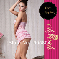 Free shipping New fashion Hot sale midnight wear sexy baby dolls pink ruffles lingerie R7398