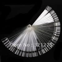 Free Shipping 50PCS Ivory White Plastic Flase Nail Art Tips Stick Display Practice Fan Board&Nail Art Display  transparent color