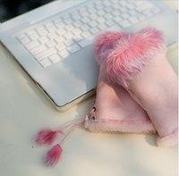 Free Shipping! New Women's fashion winter hand Wrist Fingerless rabbit fur gloves for keyboard Model