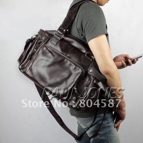 Bruin Zwart Vintage Lederen Tas Dubbele Schouder Tassen Mode Lederen ...