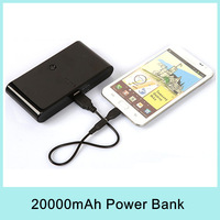 20000mAh Power Bank Emergency Portable Charger External Battery 2 USB Output for Mobile Phone Camera MP4 GPS PDA MID HOT 2014