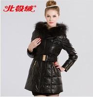 Women's slim  medium-long solid color down coat raccoon fur jacket