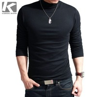 New Arrival Men's T-shirt Turtleneck Long-Sleeve T-shirt Men Thickening Lycra Cotton Solid Color Slim Man Basic Shirt