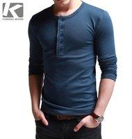 High Quality 2012 Autumn Men's T-Shirt Thick High-Elastic Slim Placket Collar Fashion Long-Sleeve T-shirt Basic Shirt