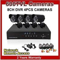 Home 8CH CCTV DVR 4pcs 600TVL Day Night Weatherproof Security Camera Surveillance System 8ch Kit for DIY CCTV Systems