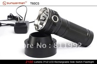 Free EMS SUNWAYMAN T60CS Torch 3x Cree XM-L U2 LED 18650 Flashlight 2100 lumens
