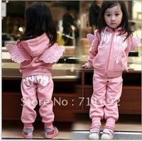 Free Shipping-5pcs/lot pinkAngel Wings Girl soprt suit set baby Tracksuit set kids hoodies suit set child casual coat wear