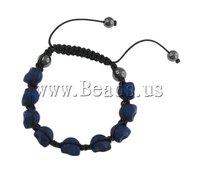 Free Shipping Turquoise Shamballa Bracelet, wax cord with skull turquoise beads & hematite beads, 9x12x11mm