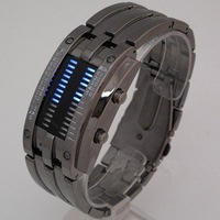 F03455 Fashion Design Staineless steel Binary Digital Watch Quartz Knight LED 30M waterproof Boys Men's Wristwatch Gift+Freeship