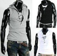 men sleeveless hoody  2012 summer male slim sleeveless T-shirt all-match hoody solid color slim t-shirt