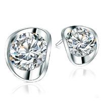 cubic zirconia  Simulated diamond  stud earrings 1*1cm 1ct silver clear bride earrings  Rihood Trading BA-147 Minimum order $15