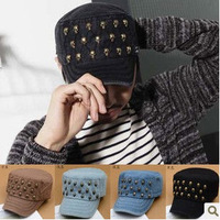 2013 new unisex cap fashion skull rivet hat for women men, free shipping 80342