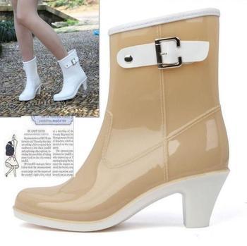 Fashion Elegant High Female Boots Buckle Ankle Boots Rainboots Women Rain Boots Botas Femininas 2014 Galocha