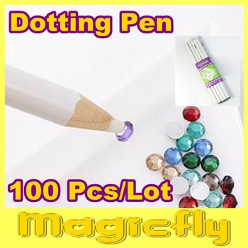 [DZB-005]100 x Nail Art Rhinestones Gems Picking Tools Pencil Dotting Pen+Free Shipping