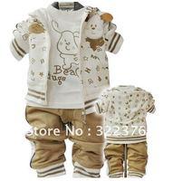 012 new children's wear spring clothing suit sportswear word bitch children three-piece suit 1 2 3 4 years old