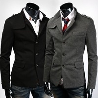 New Men's Casual Slim Fit Stand Collar Single Breasted Dress Suit Sport Jacket Blazer Short Coat  Top Outerwear Free Shipping