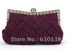 2012 newest design knitted diamond feshion handbag with clutch Free shipping cost(China (Mainland))