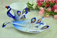 250ML colorful porcelain enamel coffee mug, Peacock design 45% bone china office mug, creative tea cup, 6 colors available!