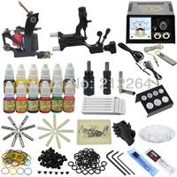 Tattoo Kit Rotary Machine Gun Set Needles Grips Tube Tip Ink Power Supplies shipping by DHL