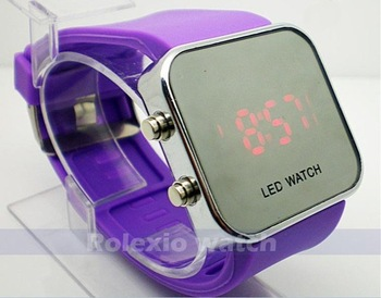 Hot sell LED watch Fashion silicone mirror silicone watch Led wrist watch 11 color available  promotion wristwatch 2015 new